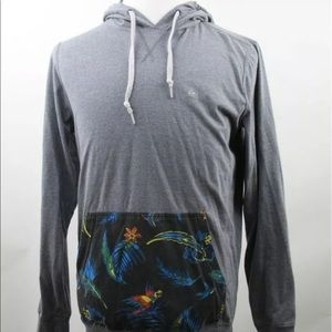 Quiksilver Hoodie Long Sleeve Gray Cotton Blend